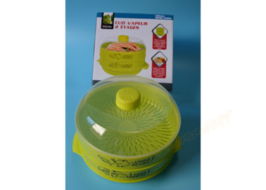 China Two Tier Microwave Steamer Basket , Steaming Plastic Containers Customized supplier