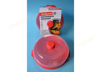 China PP Material Microwave Rice And Vegetable Steamer Red Color FDA Certificated supplier