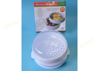 China Food Grade Plastic Vegetable Steamer Microwave , 2 Tier Microwave Steamer Dish supplier