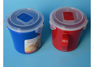 China Red Plastic Microwave Soup Cup / Mug , Microwave Safe Soup Bowls With Handles supplier