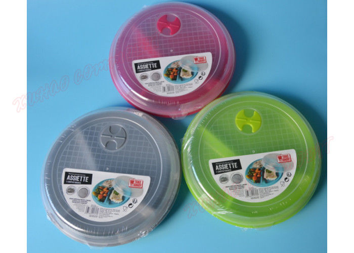 Multicolor Microwave Safe Tray 3 Compartment Round Tiffin Box Modern Style