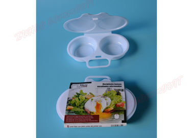 Plastic Microwave Safe Tray Poached Egg Cooker Egg Steaming Tool White Color